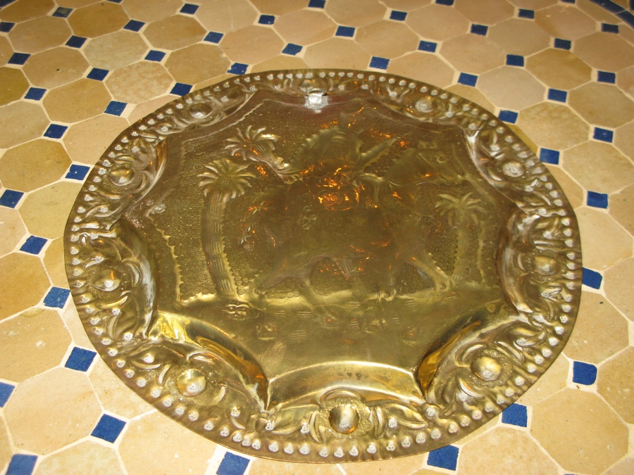 Vintage Moroccan Brass Plate Brass Plate Wall Hanging