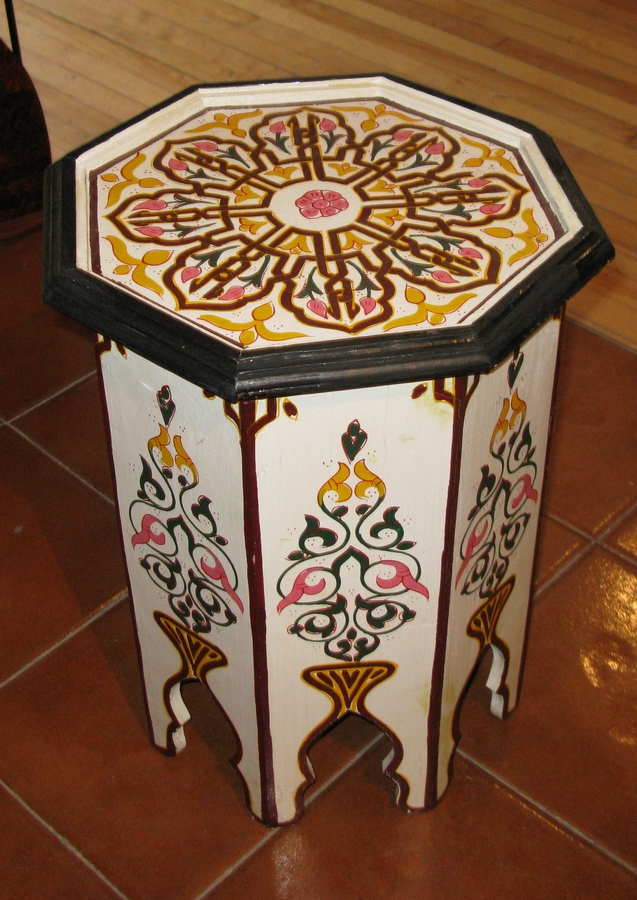Wonderful Moroccan Table   Moroccan Wooden Table   Wood Table Moroccan   Moroccan  Hand Painted Table
